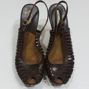 Michael Kors brown leather chunky heel sandal 9